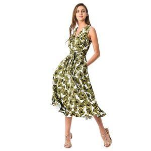 eShakti Midi Dress Green Floral Wrap Tie Waist